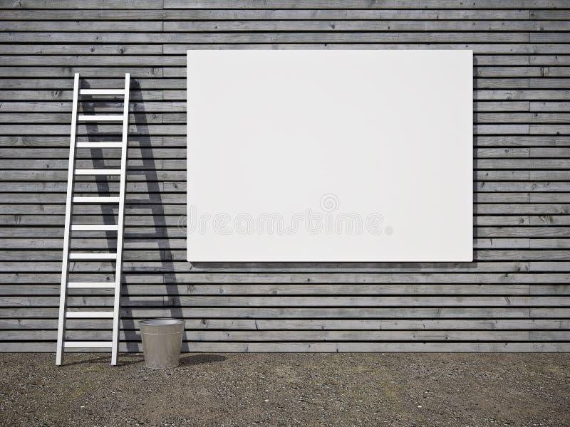 Cartelera publicitaria en blanco en la pared libre illustration