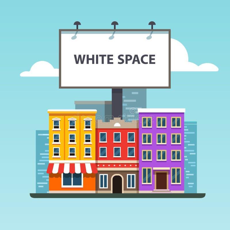 Cartelera urbana grande que se coloca sobre edificios de la ciudad stock de ilustración
