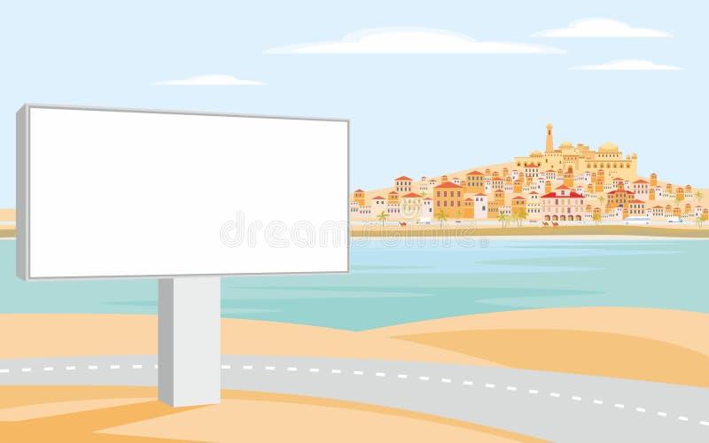 Cartelera y ciudad costera libre illustration