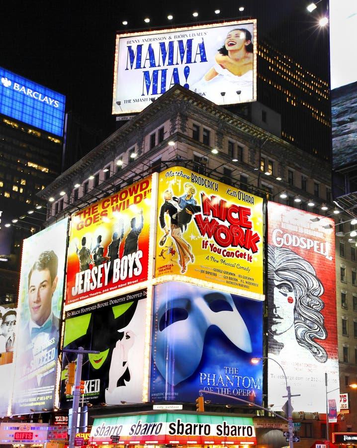 Carteleras de la demostración de Broadway fotografía de archivo libre de regalías