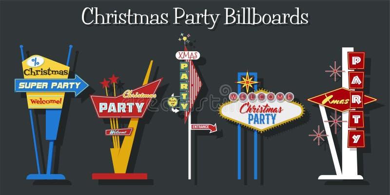 Carteleras de la fiesta de Navidad stock de ilustración