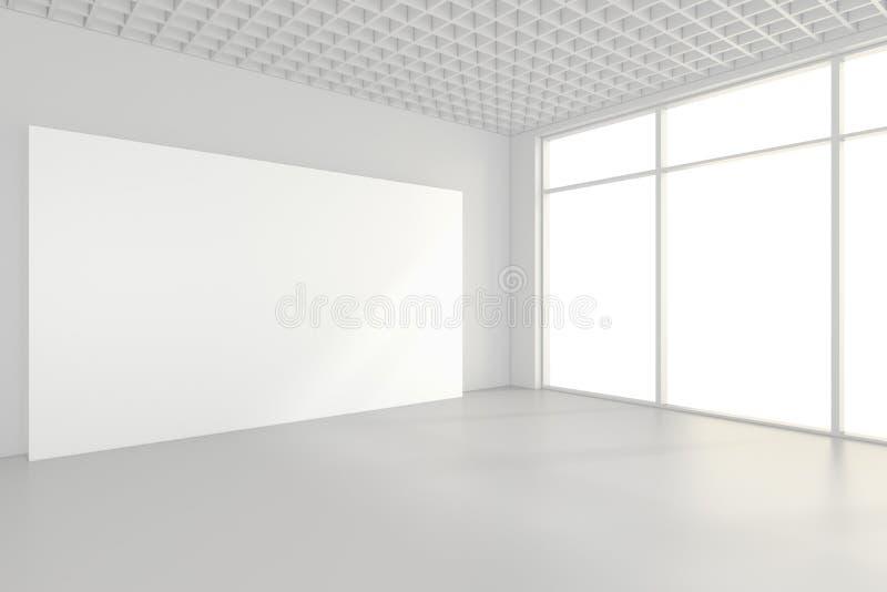 Carteleras en blanco interiores que se colocan en piso en el sitio blanco representación 3d imágenes de archivo libres de regalías