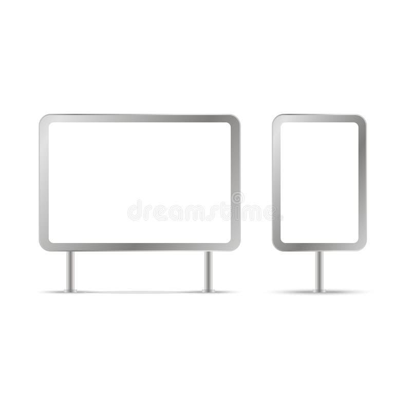 Carteleras en blanco y plantillas al aire libre del anuncio Ilustración del vector libre illustration