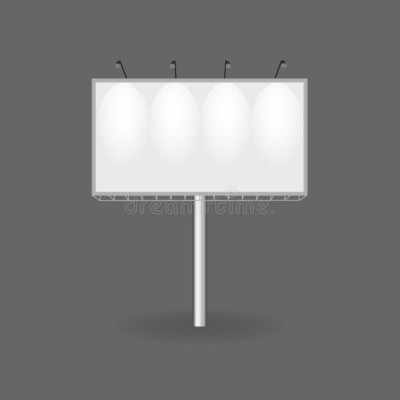 Carteleras realistas y publicidad al aire libre Cartel en blanco, muestras al por menor, soporte stock de ilustración