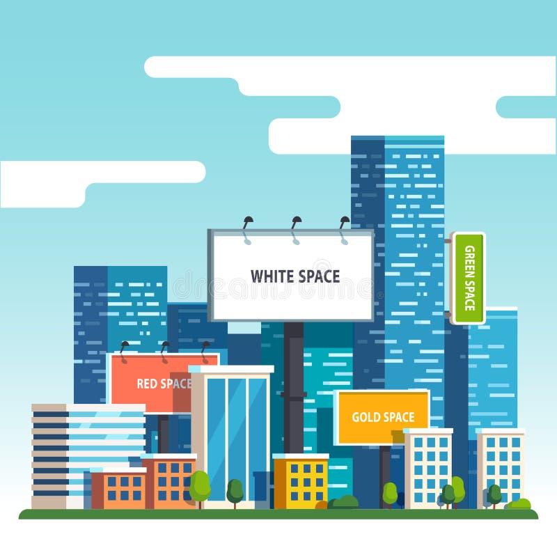 Carteleras urbanas en blanco sobre rascacielos de la ciudad ilustración del vector
