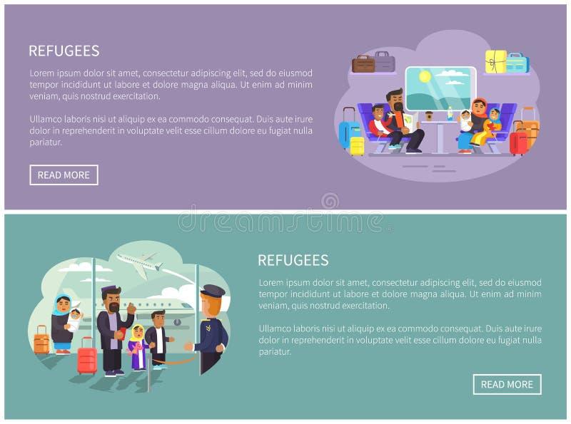 Carteles árabes del promo de Internet de las familias del refugiado ilustración del vector