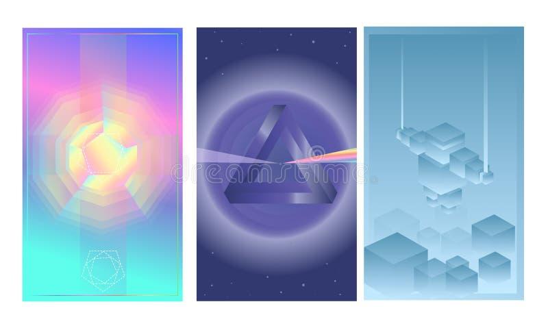 Carteles abstractos del vector fijados Modelo futurista del diseño Geometr libre illustration