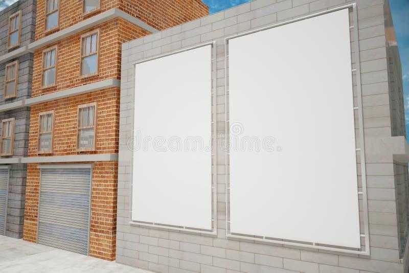 Carteles blancos en blanco en la pared de ladrillo gris en la calle de la ciudad, mofa libre illustration