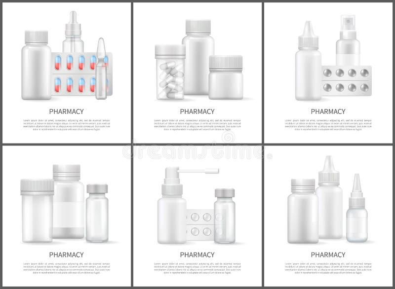 Carteles brillantes del vector de los medios de la farmacia y de las medicinas stock de ilustración