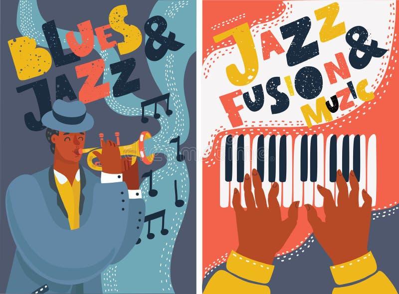 Carteles coloridos del festival del jazz y de música de los azules stock de ilustración