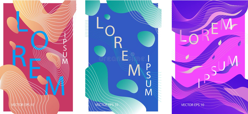 Carteles coloridos orgánicos líquidos libre illustration