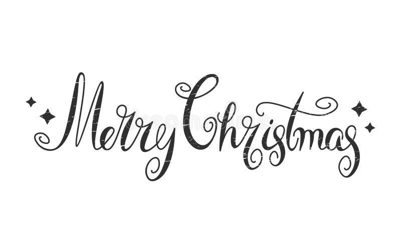 Carteles de caligrafía de texto con el vector navideño retro con la plantilla de tarjeta de diseño Carteles de felicitación na ilustración del vector