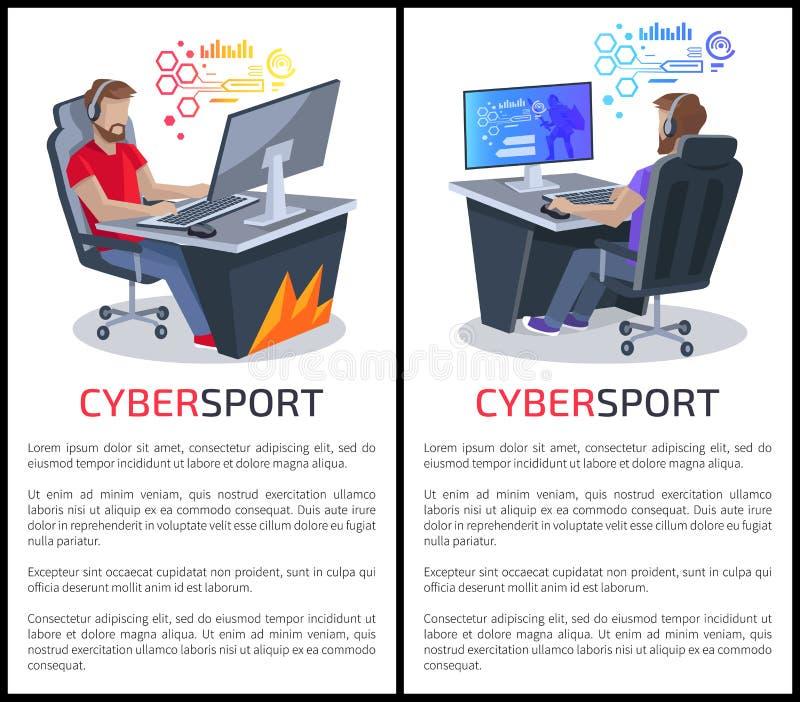 Carteles de Cybersport con los videojugadores del texto que juegan a juegos ilustración del vector