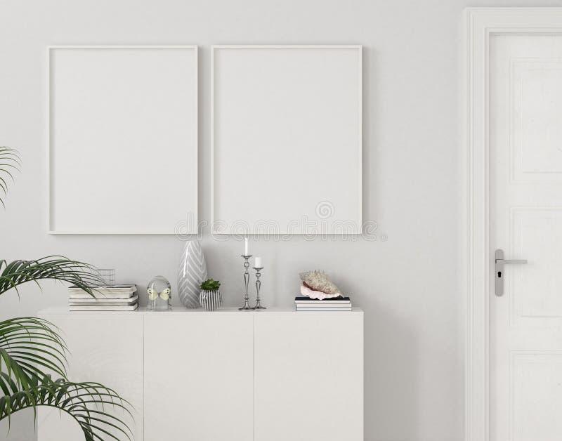 Carteles de la maqueta en el interior casero con el pecho de cajones y la planta cerca de la puerta ilustración del vector