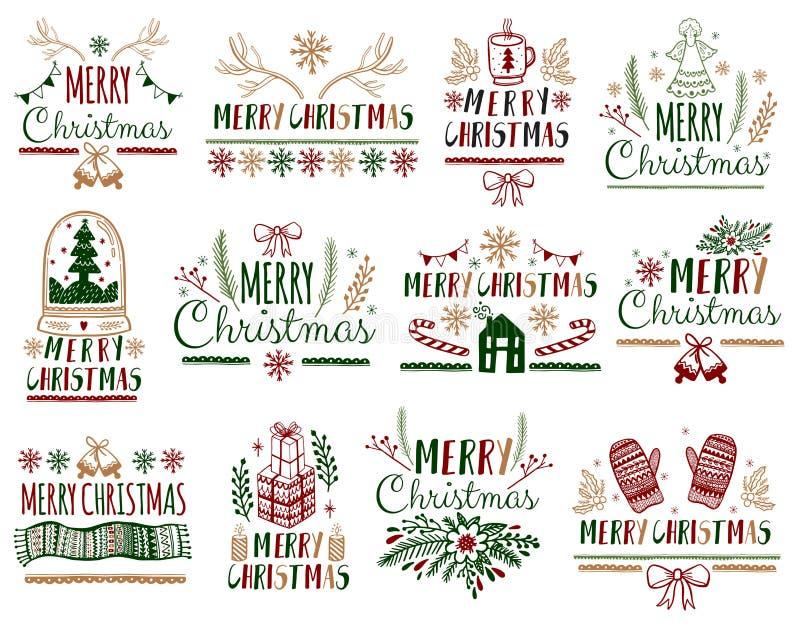 Carteles de los cartes cadeaux de la Navidad fijados Día de fiesta de la decoración de la tipografía Plantilla para Scrapbooking  ilustración del vector