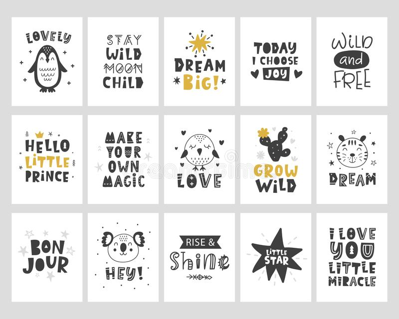 Carteles de los niños fijados Impresión infantil de la tipografía del estilo escandinavo ilustración del vector