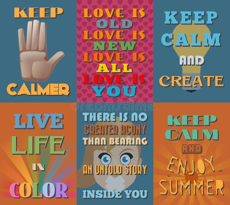 Carteles de motivación e inspirados inusuales de las citas Sistema 14 ilustración del vector
