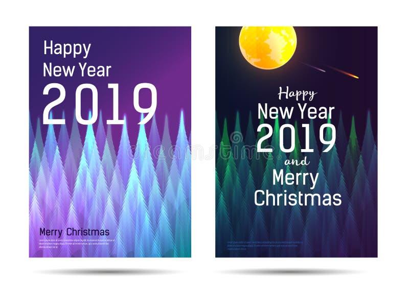 Carteles del Año Nuevo con el bosque abstracto y el saludo stock de ilustración