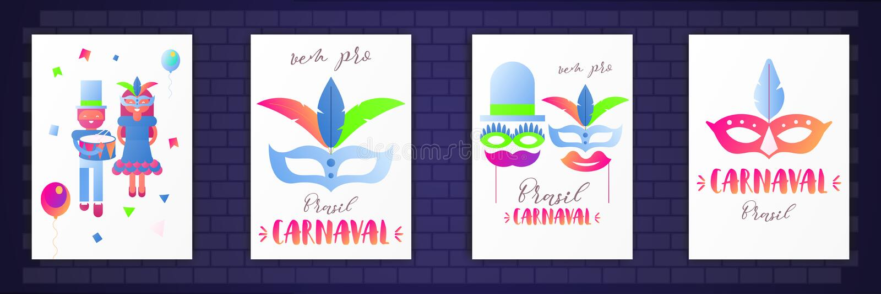 Carteles del carnaval del Brasil ilustración del vector
