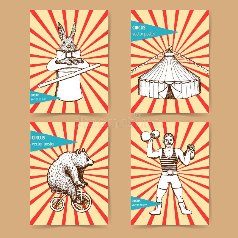 Carteles del circo del bosquejo en estilo del vintage ilustración del vector
