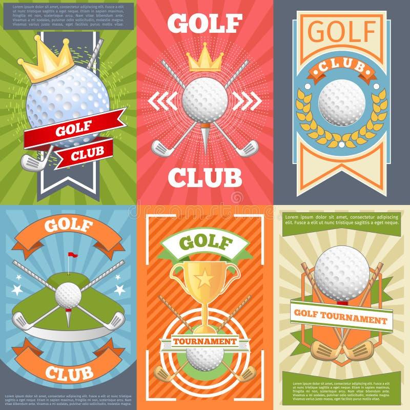 Carteles del club de golf stock de ilustración