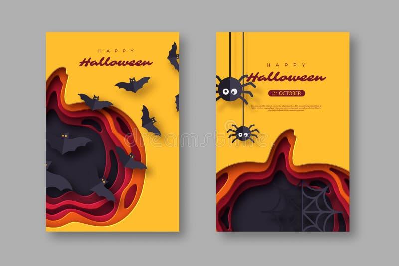 Carteles del día de fiesta de Halloween El papel cortó la calabaza del estilo con los palos y las arañas del vuelo efecto acodado ilustración del vector