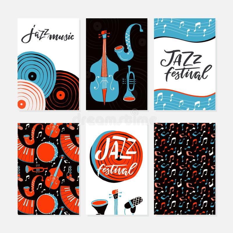 Carteles del festival de jazz, aviadores, banderas, plantilla de las tarjetas de felicitación ilustración del vector