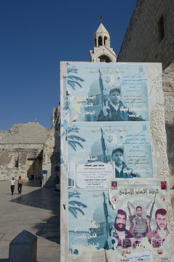Carteles del mártir en Bethlehem imagen de archivo