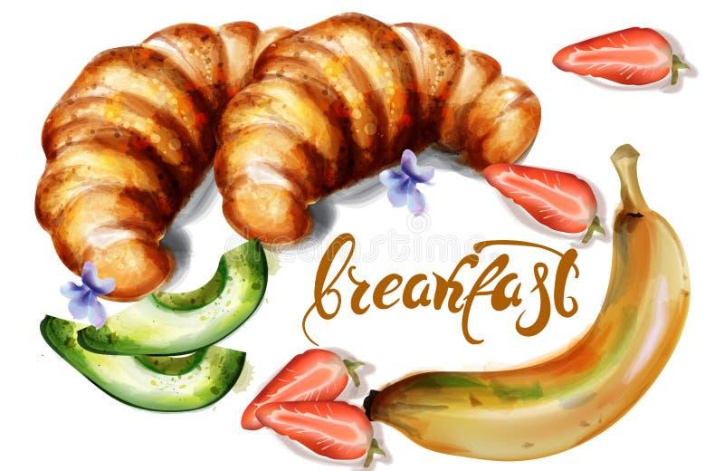 Carteles del menú de la plantilla del cruasán y del desayuno de la acuarela del vector de las frutas stock de ilustración