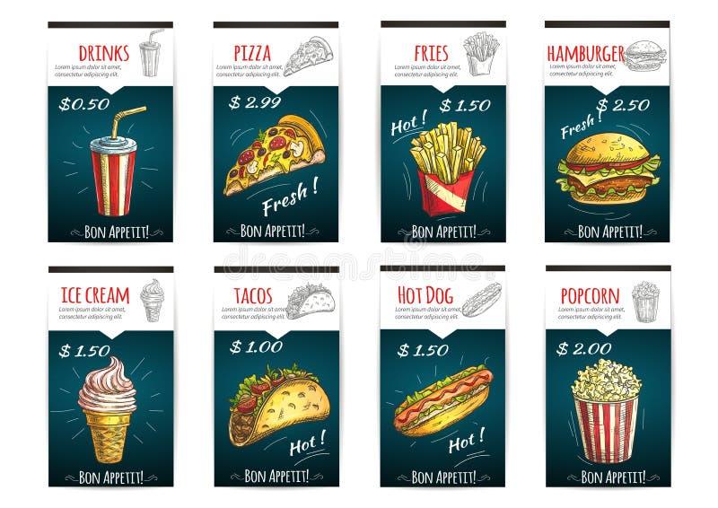 Carteles del precio del menú de los alimentos de preparación rápida con la descripción stock de ilustración