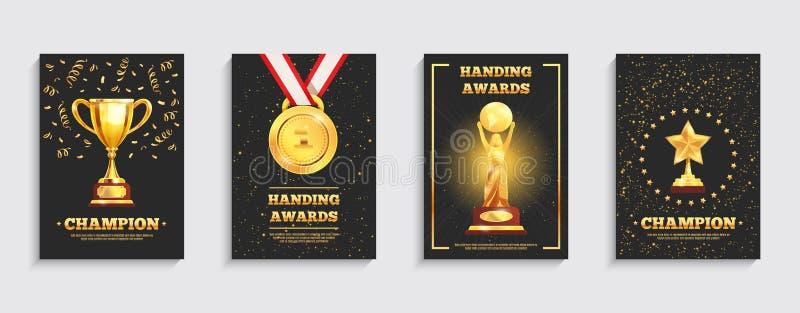 Carteles del trofeo del oro del premio fijados stock de ilustración