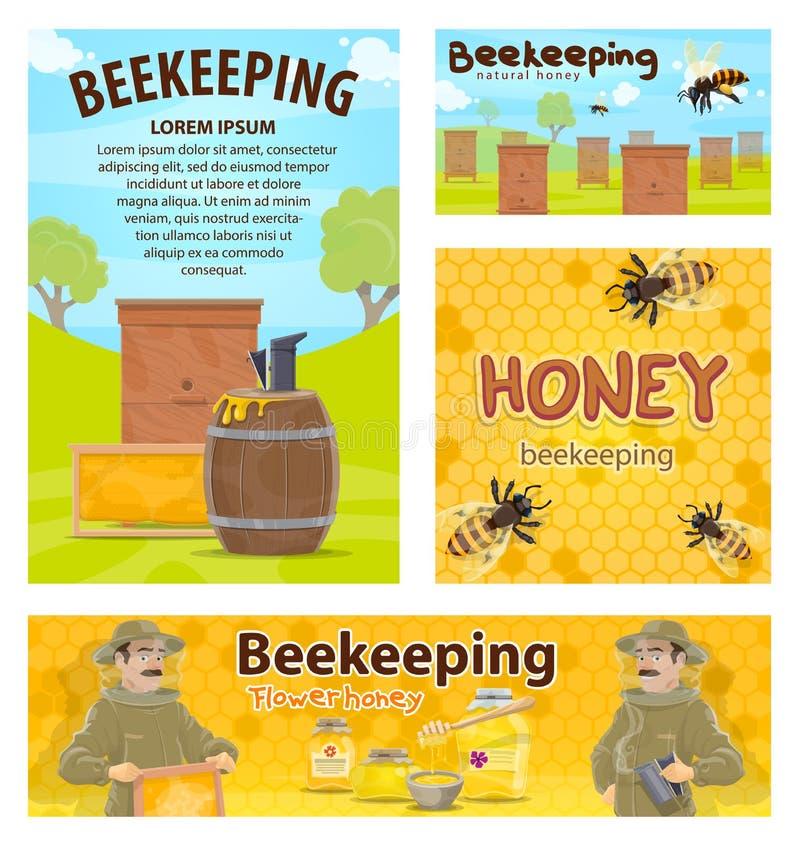 Carteles del vector del apicultor del colmenar de la miel de la apicultura libre illustration