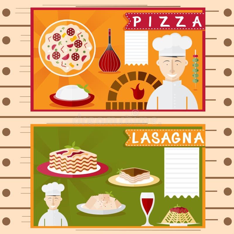 Carteles del vector del dise o de los elementos italianos for Elementos cocina