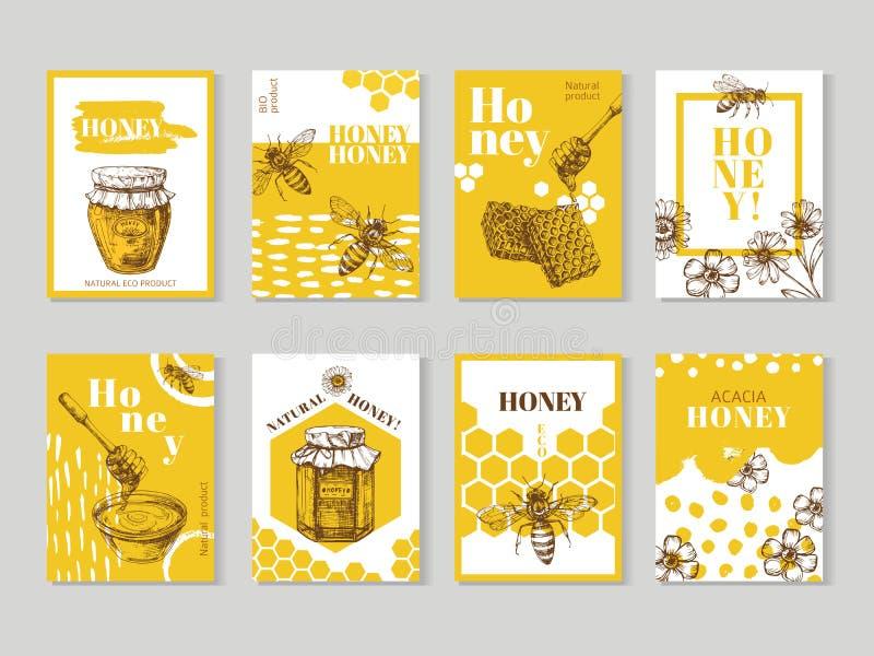 Carteles dibujados mano de la miel La miel natural que empaqueta con vector de la abeja, del panal y de la colmena diseña stock de ilustración