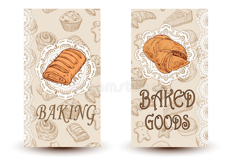 Carteles dibujados mano del pan del bosquejo del vector fijados Comidas de Eco Ejemplo del bosquejo Diseñe los elementos en el es fotos de archivo