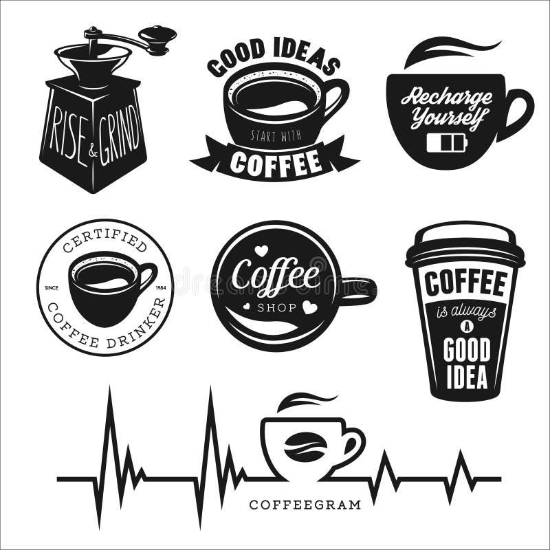 Carteles, etiquetas, insignias y diseño relacionados café stock de ilustración