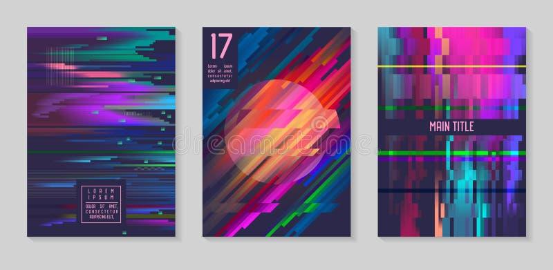 Carteles futuristas de la interferencia, cubiertas fijadas Composiciones del diseño del inconformista para los folletos, aviadore ilustración del vector