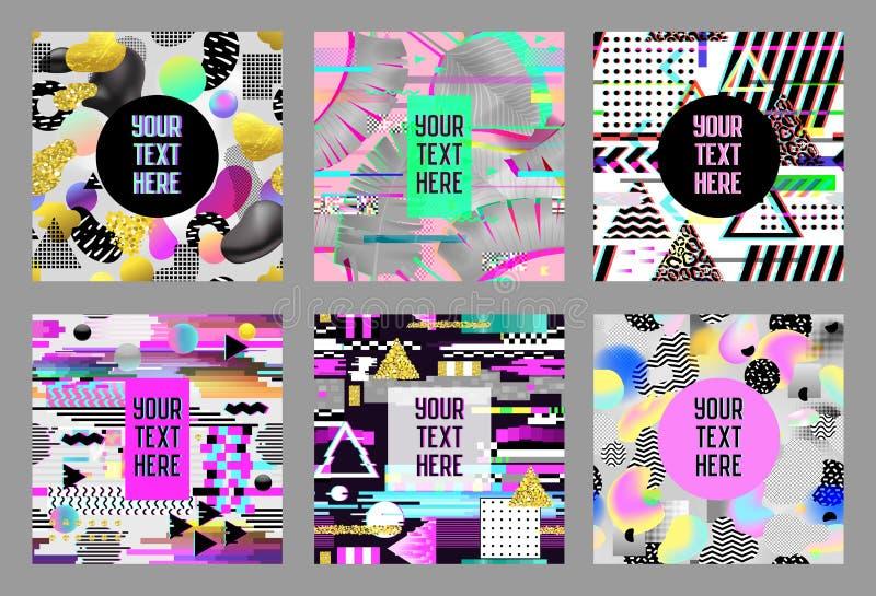 Carteles futuristas de la interferencia, cubiertas fijadas Composiciones del diseño del inconformista para los folletos, carteles ilustración del vector