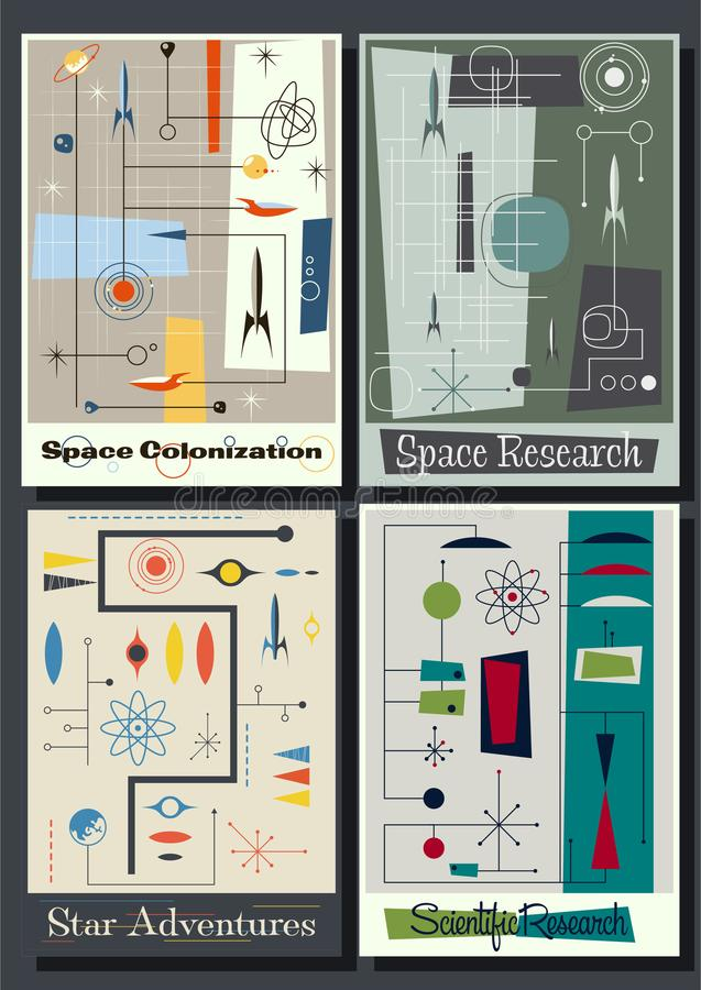 Carteles futuristas del espacio del vintage a partir de los años 50 libre illustration