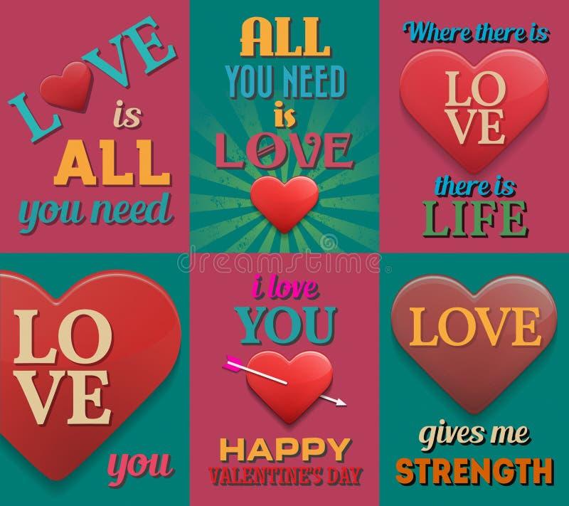 Carteles inspirados inusuales del amor Conjunto 2 stock de ilustración