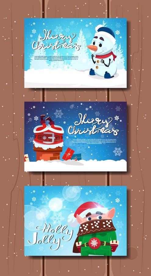 Carteles lindos de la Feliz Navidad fijados con Papá Noel, el duende y el muñeco de nieve sobre tarjetas de felicitación de mader stock de ilustración