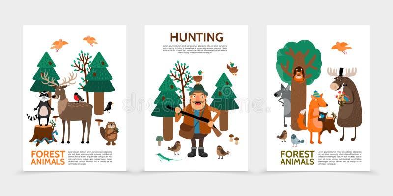 Carteles planos de la caza ilustración del vector