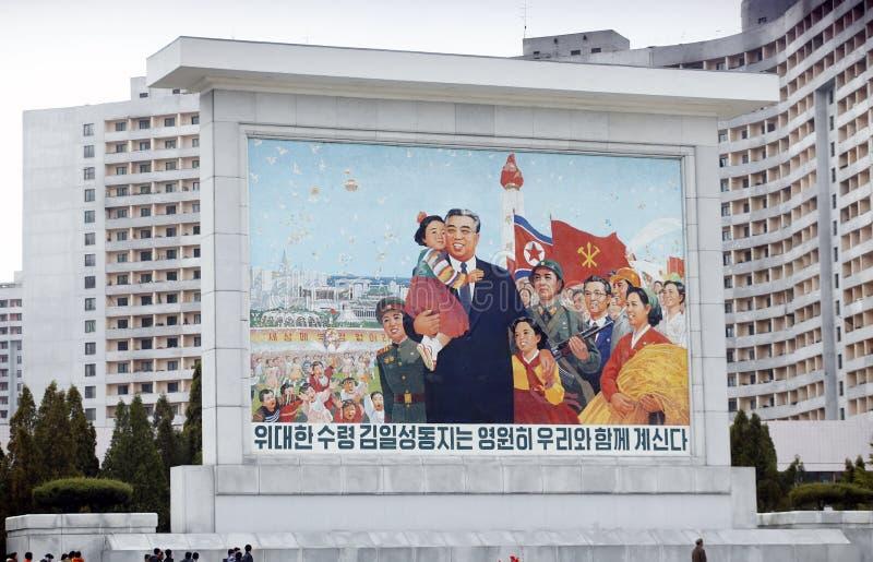 Carteles políticos norcoreanos fotografía de archivo