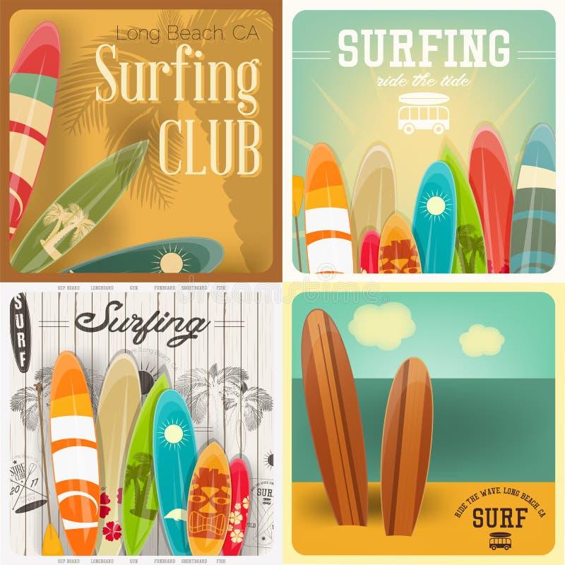 Carteles que practican surf fijados stock de ilustración