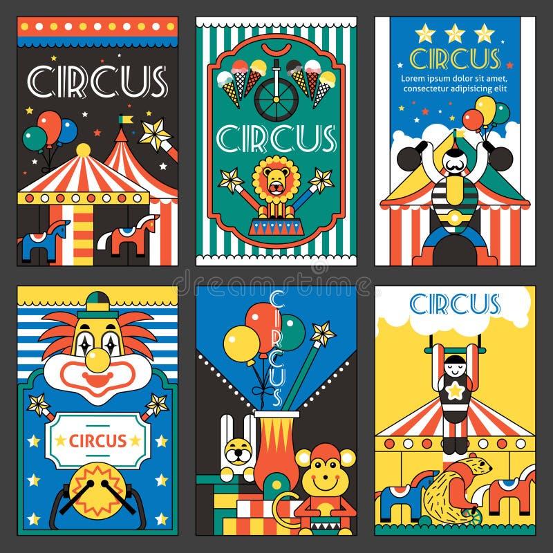 Carteles retros del circo stock de ilustración