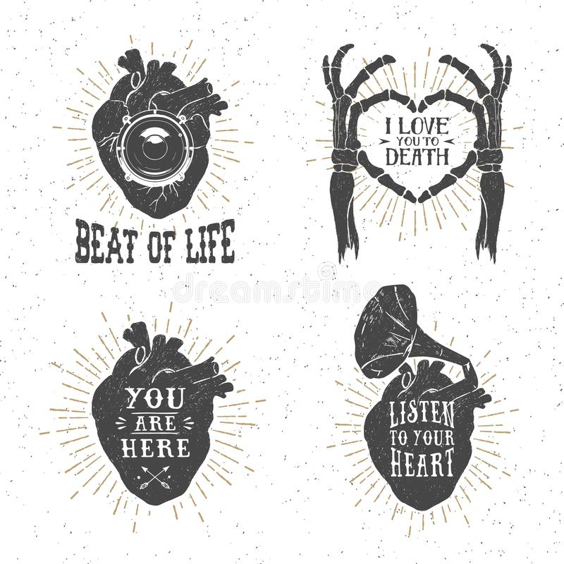 Carteles románticos con el corazón humano, manos esqueléticas, gramófono ho ilustración del vector