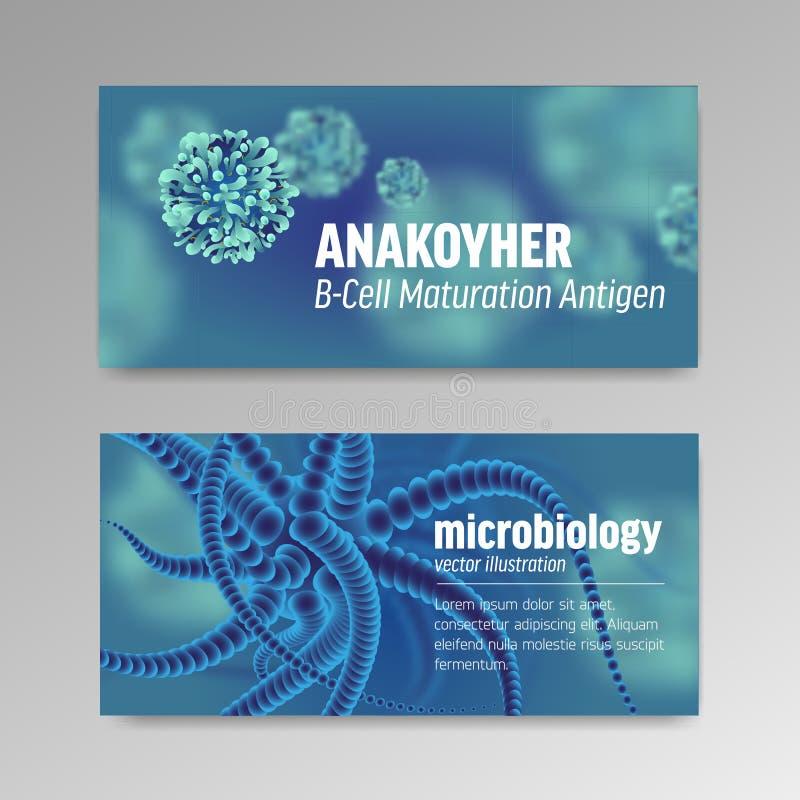 Carteles sobre la microbiología y los virus 3d microscópico libre illustration