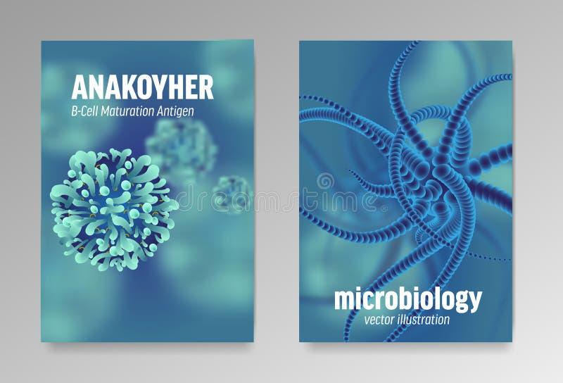 Carteles sobre la microbiología y los virus 3d microscópico stock de ilustración