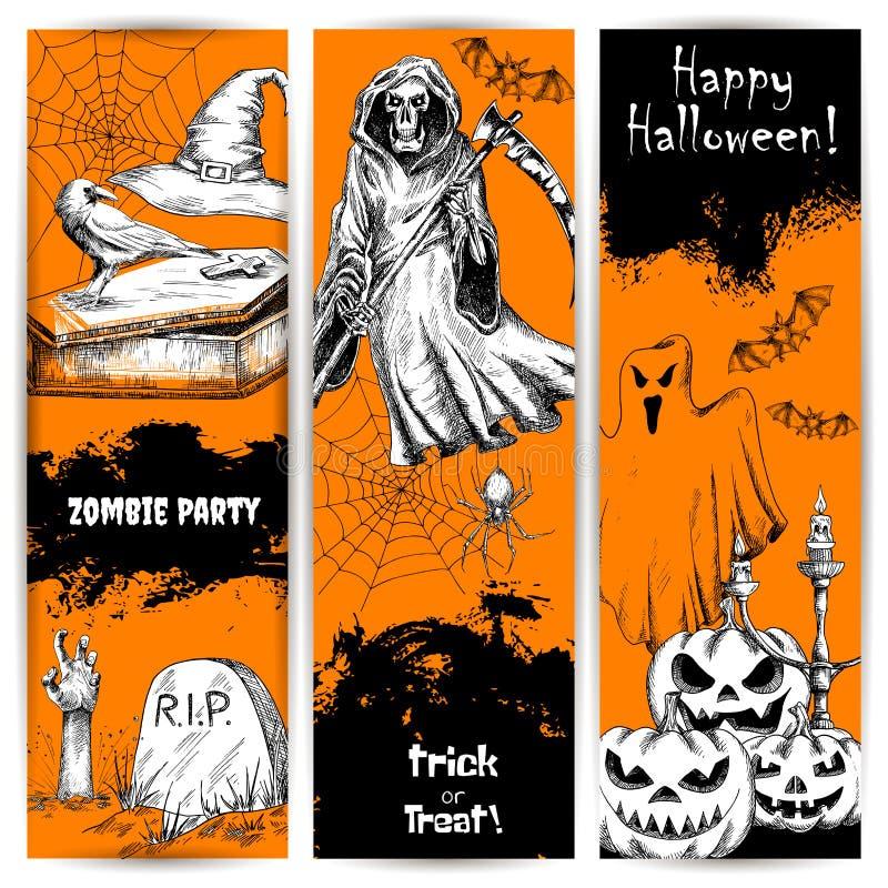 Carteles y banderas de la celebración del partido de Halloween libre illustration