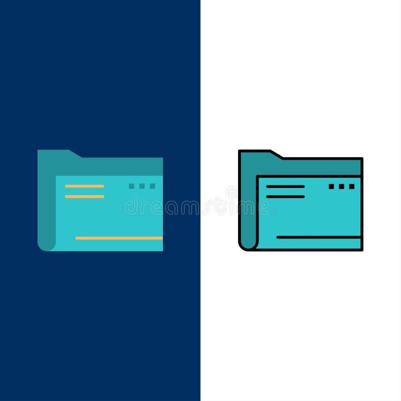 Cartella, archivio, computer, documento, vuoto, archivio, icone di stoccaggio Il piano e la linea icona riempita hanno messo il f illustrazione di stock
